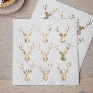 Gold Stags Head Christmas Paper Cocktail Napkins - pack of 20